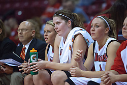 03 November 2009: Randy Norton, Maggie Krick, Nicolle Lewis, and Amanda Clifton look on from the bench during a game between Panthers of Kentucky Wesleyan and the Redbirds of Illinois State University on Doug Collins Court inside Redbird Arena in Normal Illinois.
