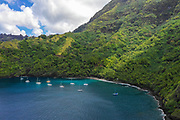 Cruising Yachts anchored, Hapatoni, Tahuata, Marquesas; French Polynesia; South Pacific