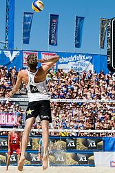 Matt Fuerbringer of USA on serve at A1 Beach Volleyball Grand Slam tournament of Swatch FIVB World Tour 2010, final, on August 1, 2010 in Klagenfurt, Austria. (Photo by Matic Klansek Velej / Sportida)