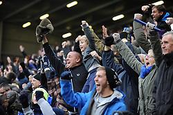 Everton fans celebrates Everton's Romelu Lukaku's goal - Photo mandatory by-line: Dougie Allward/JMP - Tel: Mobile: 07966 386802 23/11/2013 - SPORT - Football - Liverpool - Merseyside derby - Goodison Park - Everton v Liverpool - Barclays Premier League