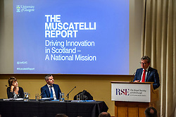 Pictured: Dame Anne Glover, President Royal Society of Edinburgh, Finance Secretary Derek Mackay  and Professor Sir Anton Muscatelli<br /><br /><br />Professor Sir Anton Muscatelli was joined by Finance Secretary Derek Mackay as he launched his report on how Scotland's higher education sector can maximise its impact on economic growth. Commissioned by Mr Mackay, the report will make recommendations for the sector, industry, the Scottish Government and its agencies<br /><br /> Ger Harley   EEm 27 November 2019