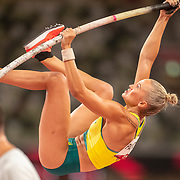 TOKYO, JAPAN August 2:  Elizaveta Paranoia of Australia in action during the qualification pole vault for women during the Track and Field competition at the Olympic Stadium  at the Tokyo 2020 Summer Olympic Games on August 2nd, 2021 in Tokyo, Japan. (Photo by Tim Clayton/Corbis via Getty Images)