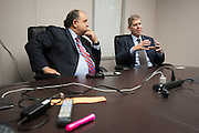 Mayor Maher Maso and Frisco ISD Superintendent, Dr. Jeremy Lyon visit at The Star, the new home of the Dallas Cowboys headquarters and practice facilities, in Frisco, Texas on November 30, 2015.  (Cooper Neill for The New York Times)