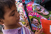 "10 JANUARY 2007 - MANAGUA, NICARAGUA: A boy waits for the inauguration of Daniel Ortega to start Wednesday. Ortega, the leader of the Sandanista Front, was sworn in as the President of Nicaragua Wednesday. Ortega and the Sandanistas ruled Nicaragua from their victory of ""Tacho"" Somoza in 1979 until their defeat by Violetta Chamorro in the 1990 election.  Photo by Jack Kurtz / ZUMA Press"