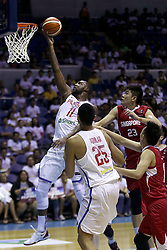QUEZON Quezon City, May 13, 2017  Andre Blatche of the Philippines (L) competes against players from Singapore during their match in the 2017 SEABA senior men's championship tournament in Quezon City, the Philippines, May 13, 2017. The Philippines won, 113-66.  2017?5?13? (Credit Image: © Rouelle Umali/Xinhua via ZUMA Wire)