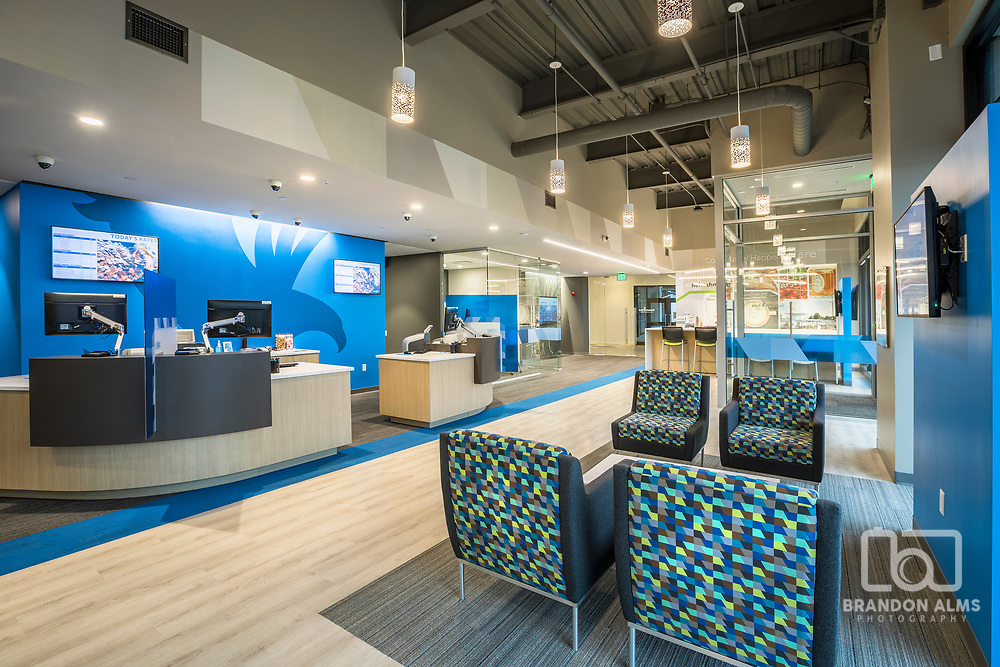 The modern space inside Guaranty Bank located in Springfield, MO.