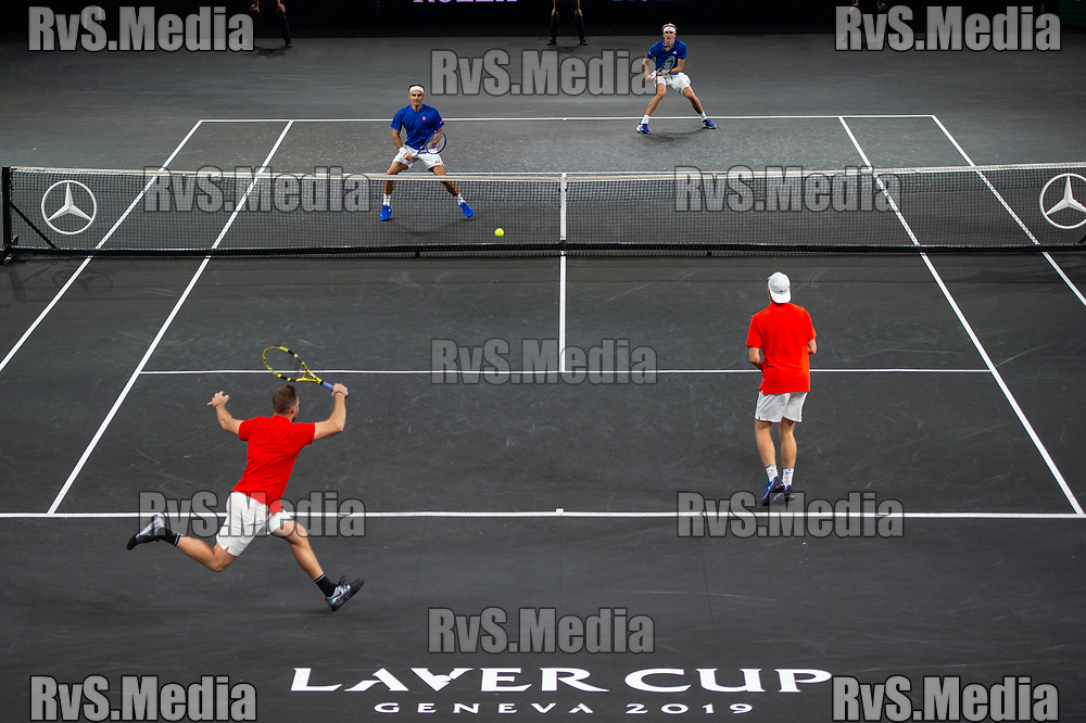 GENEVA, SWITZERLAND - SEPTEMBER 20: General view of the Centre Court during Day 1 of the Laver Cup 2019 at Palexpo on September 20, 2019 in Geneva, Switzerland. The Laver Cup will see six players from the rest of the World competing against their counterparts from Europe. Team World is captained by John McEnroe and Team Europe is captained by Bjorn Borg. The tournament runs from September 20-22. (Photo by Monika Majer/RvS.Media)