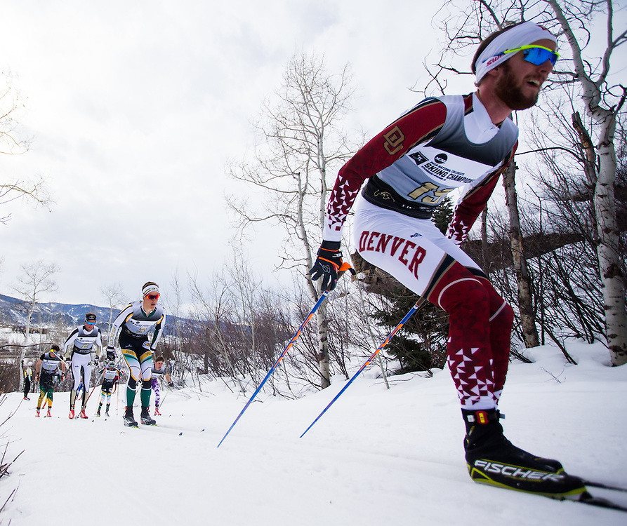 Dag Frode Trolleboe of the University of Denver and Adam Martin of Northern Michigan University, during the NCAA Skiing Championships Classical Mass Start on Saturday March 12, 2016 at Howelsen Hill in Steamboat Springs, CO. (Dustin Satloff)
