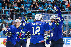 Jan Drozg of Slovenia, David Rodman of Slovenia and Anze Kopitar of Slovenia celebrate after scoring a goal during ice hockey match between Slovenia and Kazakhstan at IIHF World Championship DIV. I Group A Kazakhstan 2019, on April 29, 2019 in Barys Arena, Nur-Sultan, Kazakhstan. Photo by Matic Klansek Velej / Sportida