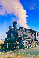 Steam Locomotive # 487 of the Cumbres & Toltec Scenic Railroad.  Antonito, Colorado.