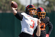 Los Angeles Wildcats quarterback Charles Kanoff (3) throws the ball during practice, Wednesday, Feb. 5, 2020, in Long Beach, Calif. The Wildcats are part of the eight-team XFL, a professional American football league owned by Vince McMahon's Alpha Entertainment, with  headquarters in Stamford, Connecticut. It is the successor to the original XFL, which was controlled by the World Wrestling Federation (WWF, now WWE)  and NBC, and ran for a single season in 2001.