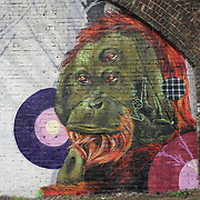 London,England,UK : 11th April 2016 : 'Endangered 13' Project, Fiya One street artists painting  'orangutan' raising awareness Endangered animal at Ackroyd Drive, Sponsor by Tower Hamlets council in London. Photo by See Li