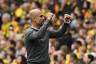 Goal - Manchester City manager Pep Guardiola celebrates after Gabriel Jesus (33) of Manchester City scores a goal to give a 2-0 lead  during the The FA Cup Final match between Manchester City and Watford at Wembley Stadium, London, England on 18 May 2019.