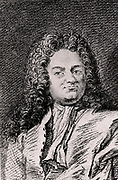 Christian Wolff or Wolf or Wolfius (1679-1754) German philosopher born in Breslau.  Professor mathematics and natural philosophy at Halle University (1706-1723 and from 1740). Professor at Marburg University (1723-1740).     Engraving from 'Histoire des Philosophes Modernes' by Alexandre Saverien (Paris, 1762).