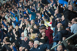 South stand fans after the Falkirk's third goal. Falkirk 3 v 2 Hibernian, Scottish Premiership play-off final, played 13/5/2016 at The Falkirk Stadium.