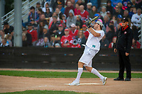 KELOWNA, CANADA - JUNE 28: NHL New Jersey Devils player Damon Severson takes a swing during the opening charity game of the Home Base Slo-Pitch Tournament fundraiser for the Kelowna General Hospital Foundation JoeAnna's House on June 28, 2019 at Elk's Stadium in Kelowna, British Columbia, Canada.  (Photo by Marissa Baecker/Shoot the Breeze)