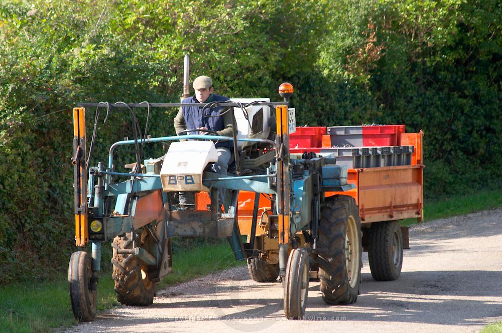 tractor harvest crates mercurey burgundy france