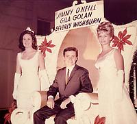 1964 Jimmy O'Neill, Gila Goland and Beverly Washburn at the Christmas Santa Claus Lane Parade on Hollywood Blvd.