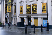 West End theatres remain closed down with shutters or boarded up as the Prime Minister announces a new tighter fourth tier of local coronavirus restrictions for London and the South East, and that the planned Christmas relaxation of the rules was to be scrapped on 19th December 2020 in London, United Kingdom. The Lion King at the Lyceum theatre has its doors closed.