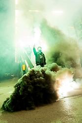 Fans celebrate victory outside hockey hall after 3rd leg of ic hockey game between HK SZ Olimpija Ljubljana and Asiago Hockey in Final of Alps Hockey League 2020/21, on April 24, 2021 in Hala Tivoli, Ljubljana, Slovenia. Photo by Matic Klansek Velej / Sportida