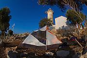 Turkey, Antalya Province, Olympos National Park, Cape Gelidonya. The lighthouse Backpackers tent