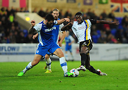 Bristol Rovers' Nathan Blissett  is challenged by Chester's Matty Brown- Photo mandatory by-line: Neil Brookman/JMP - Mobile: 07966 386802 - 22/11/2014 - Sport - Football - Chester - Deva Stadium - Chester v Bristol Rovers - Vanarama Football Conference