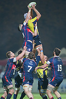 John Cullen (L) of USA tries to stop Marius Sirbe (R) of Romania  during their  rugby test match between Romania and USA, on National Stadium Arc de Triomphe in Bucharest, November 8, 2014.  Romania lose the match against USA, final score 17-27.