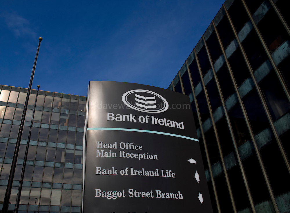 Bank of Ireland Headquarters, Baggot Street, Dublin. The bank received a 3.5 billion euro Irish government bailout following the 2008 financial crisis.