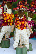 Partially completed mariachi band made of dried cornflowers (flor inmortal) for Noche de Rabanos, Oaxaca, Mexico.
