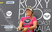 Gold Coast, Australia - March 6: Steph Gilmore on the podium sprays the crowd with champagne at the Roxy Pro Gold Coast 2010 at Snapper Rocks on the Gold Coast, March 6, 2010 Photo by Matt Roberts/MATTRimages.com.au | Image ID: MTR_0800.jpg
