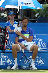 Russia's Daniil Medvedev receives treatment during his match against Bulgaria's Grigor Dimitrov during day five of the 2017 AEGON Championships at The Queen's Club, London.