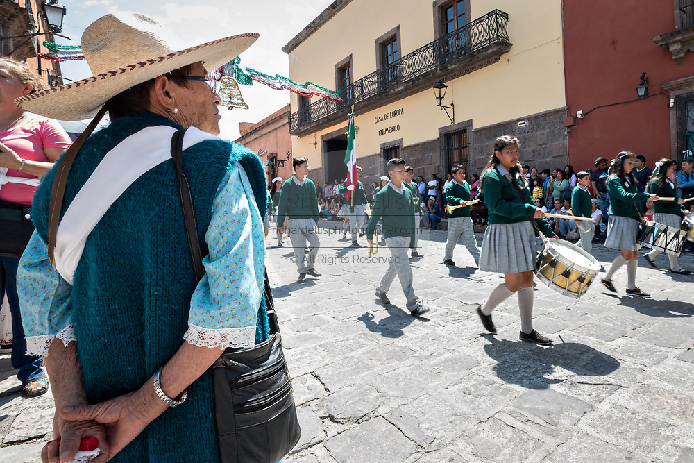 Students parade through the historic district during Mexican Independence Day celebrations September 16, 2017 in San Miguel de Allende, Mexico.