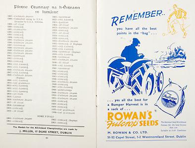 All Ireland Senior Hurling Championship Final,.01.09.1957, 09.01.1957, 1st September 1957,.Minor Kilkenny v Tipperary, .Senior Kilkenny v Waterford, Kilkenny 4-10.Waterford 3-12,..Advertisement, Rowan's Fulcrop Seeds, M Rowan & Co Ltd,