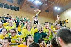 Fans of RK Celje Pivovarna Lasko with trophy after handball match between RK Krka and RK Celje Pivovarna Lasko in the Final of Slovenian Men Handball Cup 2018, on April 22, 2018 in Sportna dvorana Ljutomer , Ljutomer, Slovenia. Photo by Mario Horvat / Sportida