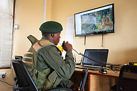 A radio room operator in Kenya