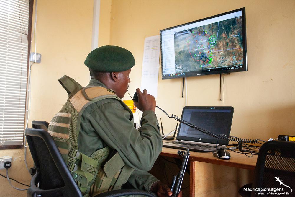 A radio room operator in Kenya