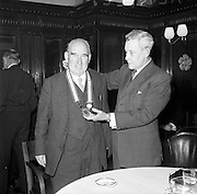 27/01/1962<br /> 01/27/1962<br /> 27 January 1962<br /> Presentation College, Cork P.P.U. (Dublin Branch) Dinner at Jammets restaurant, Dublin. Picture shows outgoing President Mr. Frank Gallagher (left) and Dr. N.G. Nolan, Vice-President of the Union.