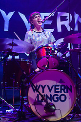 © Licensed to London News Pictures. 01/06/2015. London, UK.   Wyvern Lingo performing live at The Roundhouse, supporting headliner Hozier.   In this picture - Caoimhe Barry.  Wyvern Lingo is composed of members Karen Cowley (Vocals/Piano), Saoirse Duane (Guitar), Caoimhe Barry (Vocals/Percussion).  Photo credit : Richard Isaac/LNP