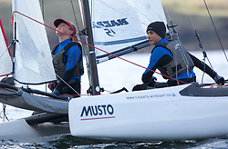 The annual RYA Youth National Championships is the UK's premier youth racing event. This year's regatta is taking place in Largs, Scotland, and will feature around 200 young sailors aged between 14 and 21. <br /> <br /> <br /> 004, Theo Williams & Jasmine Williams from Restronguet Sailing Club sailing in the Nacra 15 Open Class<br /> <br /> Images: Marc Turner / RYA<br /> <br /> For further information contact:<br /> <br /> Richard Aspland, <br /> RYA Racing Communications Officer (on site)<br /> E: richard.aspland@rya.org.uk<br /> m: 07469 854599