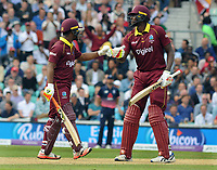Cricket - 2017 West Indies Tour of England - Fourth One Day International (ODI): England vs. West Indies<br /> <br /> Evin Lewis and Captain, Jason Holder of West Indies touch gloves  at The Oval.<br /> <br /> COLORSPORT/ANDREW COWIE