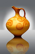 Ephyraean Jug decorated with arganaut shells, Markopoulo . Late Helladic IIB culture of mainland ancient Mycenaean Greece during. Cat No 3765, 9103, Athens Archaeological Museum. .<br /> <br /> If you prefer to buy from our ALAMY PHOTO LIBRARY  Collection visit : https://www.alamy.com/portfolio/paul-williams-funkystock/mycenaean-art-artefacts.html . Type -   Athens    - into the LOWER SEARCH WITHIN GALLERY box. Refine search by adding background colour, place, museum etc<br /> <br /> Visit our MYCENAEN ART PHOTO COLLECTIONS for more photos to download  as wall art prints https://funkystock.photoshelter.com/gallery-collection/Pictures-Images-of-Ancient-Mycenaean-Art-Artefacts-Archaeology-Sites/C0000xRC5WLQcbhQ
