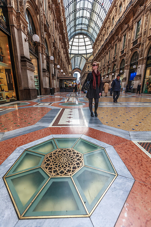 The Galleria Vittorio Emanuele II in Milan, Italy. Milan is recognised internationally as one of the world's most important fashion capitals and luxury shoppers can be seen in the Galleria.