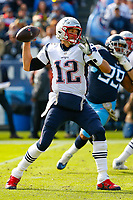 NASHVILLE, TN - NOVEMBER 11:  Quarterback Tom Brady #12 of the New England Patriots plays against the Tennessee Titans at Nissan Stadium on November 11, 2018 in Nashville, Tennessee.  (Photo by Frederick Breedon/Getty Images)