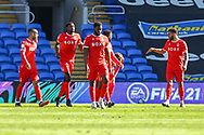 CELE Nottingham Forest's James Garner (37) (hidden) celebrates scoring the opening goal with his team-mates during the EFL Sky Bet Championship match between Cardiff City and Nottingham Forest at the Cardiff City Stadium, Cardiff, Wales on 2 April 2021.