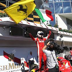 26.07.2015, Hungaroring, Budapest, HUN, FIA, Formel 1, Grand Prix von Ungarn, das Rennen, im Bild Sebastian Vettel (Scuderia Ferrari) mit Ferrari und Italien Fahne auf dem Auto // during the race of the Hungarian Formula One Grand Prix at the Hungaroring in Budapest, Hungary on 2015/07/26. EXPA Pictures © 2015, PhotoCredit: EXPA/ Eibner-Pressefoto/ Bermel<br /> <br /> *****ATTENTION - OUT of GER*****