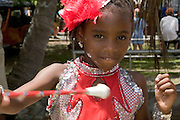 Youth Baton performer in the yearly traditional Carnival Parade, St. John, U.S. Virgin Islands.
