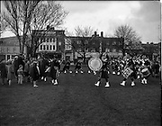 06/02/1960<br /> 02/06/1960<br /> 06 February 1960 <br /> St Laurence O'Toole Pipe Band play  at Fairview Park, Dublin, watched by local children.