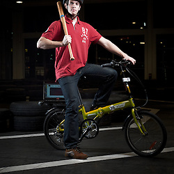 LILLE, FRANCE. DECEMBER 13, 2011. Antoine Ravise, R&D Engineer at Decathlon's Geonaute Laboratory, shot at a Decathlon flagship store dedicated to bikes he also test and contribute to engineer. Photo: Antoine Doyen