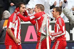 11.12.2010, Allianz Arena, Muenchen, GER, 1.FBL, FC Bayern Muenchen vs  FC St. Pauli, im Bild Jubel nach dem 1-0 Torschuetze Hamit Altintop (Bayern #8) Bastian Schweinsteiger (Bayern #31) und Philipp Lahm (Bayern #21)  , EXPA Pictures © 2010, PhotoCredit: EXPA/ nph/  Straubmeier       ****** out ouf GER ******