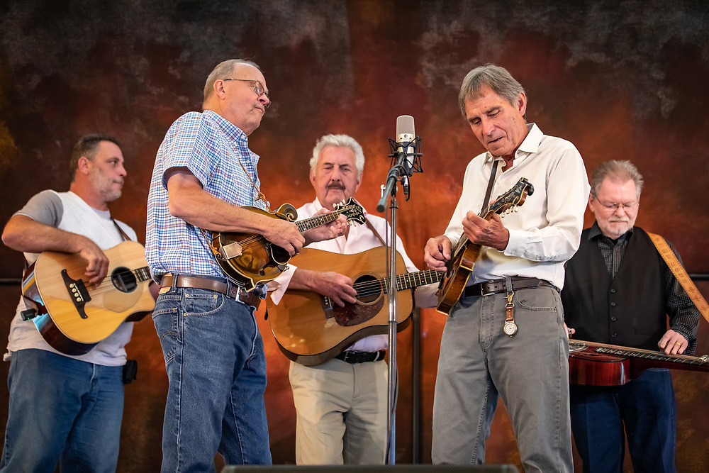 Ron Thomason and the Dry Branch Fire Squad entertain the crowd at the 2019 High Mountain Hay Fever Bluegrass Festival.